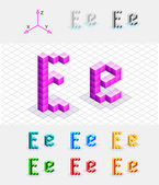 Isometric font from the cubes.Letter E. Vector — Stock Vector