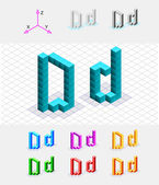 Isometric font from the cubes.Letter D. Vector — Stock Vector