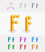 Isometric font from the cubes.Letter F. Vector — Stock Vector