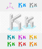 Isometric font from the cubes.Letter K. Vector — Stock Vector