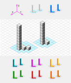 Isometric font from the cubes.Letter L. Vector — Stock Vector