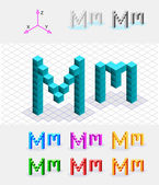 Isometric font from the cubes.Letter M. Vector — Stock Vector