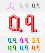 Isometric font from the cubes.Letter Q. Vector — Stock Vector