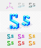 Isometric font from the cubes.Letter S. Vector — Stock Vector
