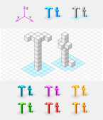 Isometric font from the cubes.Letter T. Vector — Stock Vector