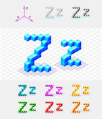Isometric font from the cubes.Letter Z. Vector — Stock Vector