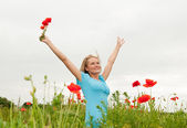 Young woman cheering — Stock Photo