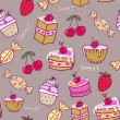 Seamless pattern with sweets. — Stock Vector
