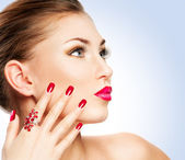 Donna con manicure — Foto Stock