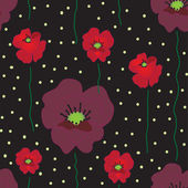 Vector seamless pattern with red and purple poppies on black background — Stock Vector