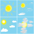 Vector set icons with sun and clouds on blue sky — Stock Vector