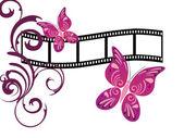 电影条纹上的蝴蝶 — 图库矢量图片