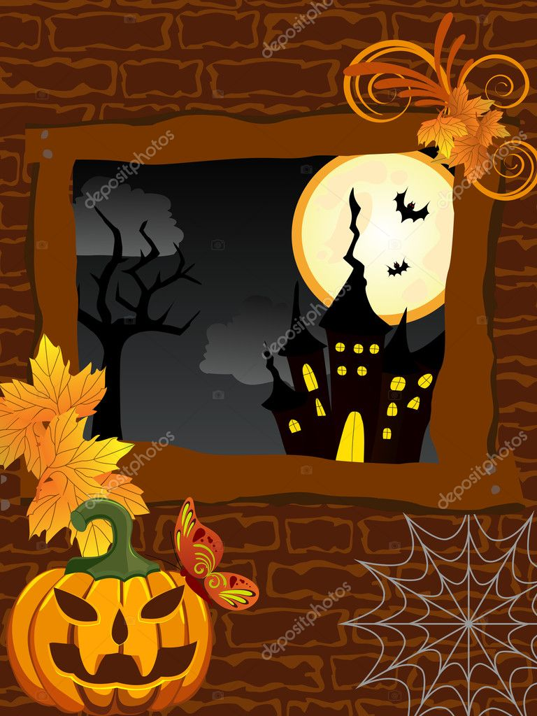 Vector illustration of a wall with a window and halloween elements — Stock Vector #11704066