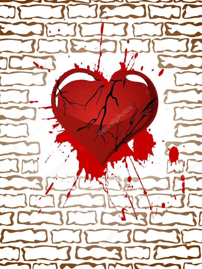 Vector illustration of a red broken heart in front of a wall — Stock Vector #11741954
