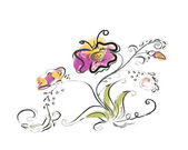 A flower with a butterfly, drawing with a brush — Stock Vector
