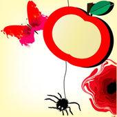 Vector funny fruit banner apple — Stock Vector