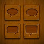 Set of realistic wooden speech bubbles. — Stock Vector