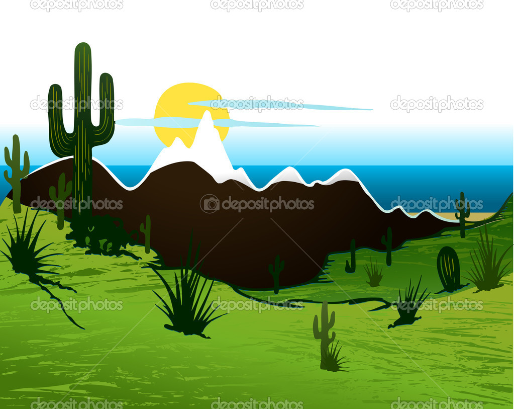 A southwest desert landscape of Saguaro cactus mountains and sky — Stock Vector #11349810