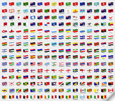 Big set wavy flags. Vector illustration — Stockvector