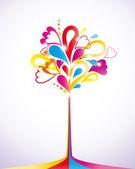 Renkli ağaç boyama. vektör çizim — Stok Vektör