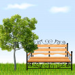 Bench with tree and grass. Vector illustration — Stock Vector #11669215