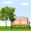 Bench with tree and grass. Vector illustration — Stock Vector