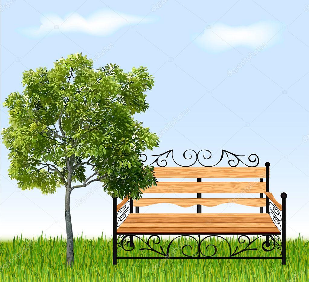 banco de jardim vetor:Banco com árvores e grama. ilustração vetorial – Ilustração de