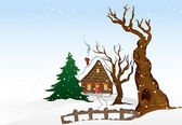 Cartoon winter house. Vector illustration — Stock Vector