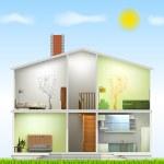 Cut in house interiors. Vector — Stock Vector
