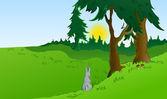 Hares in the wonderland. Vector — Stock Vector
