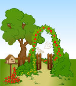 Tree and flower background with fence. Vector — Stok Vektör