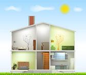 Corte interiores en casa. vector — Vector de stock
