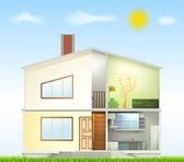 Cut in house interiors and part facade. Vector — Stock Vector