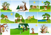 Set of natural backgrounds. Vector — Stock Vector