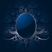 Royal blue background with silver frame. Vector — Wektor stockowy
