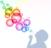Child blowing bubbles. Vector background — Stock Vector