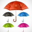 Umbrellas ornamental set. Vector — Stock Vector