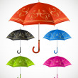 Stock Vector: Umbrellas ornamental set. Vector
