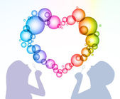 Man and woman inflate bubbles in the form of heart. Vector — Stock Vector