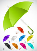 Colorful umbrellas set. Vector — Vettoriale Stock