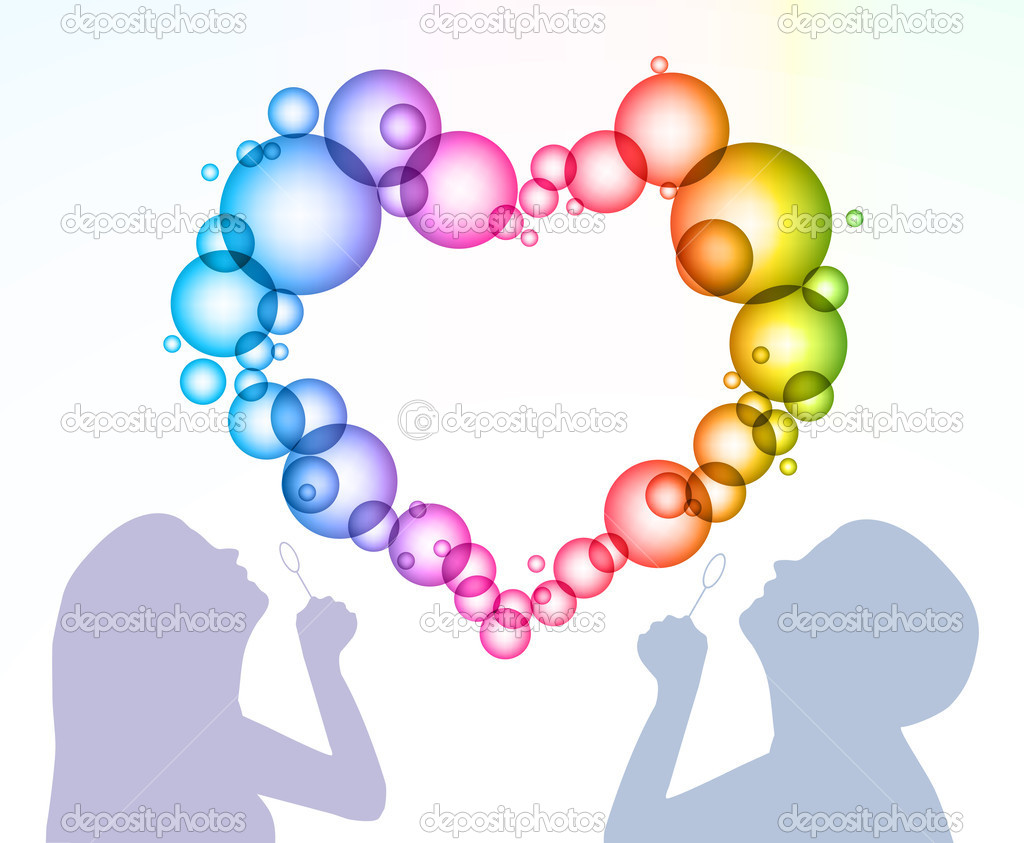 Silhouette of the man and woman inflate bubbles in the form of heart  Stock Vector #12110107