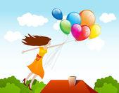女孩与气球飞行。矢量背景 — 图库矢量图片