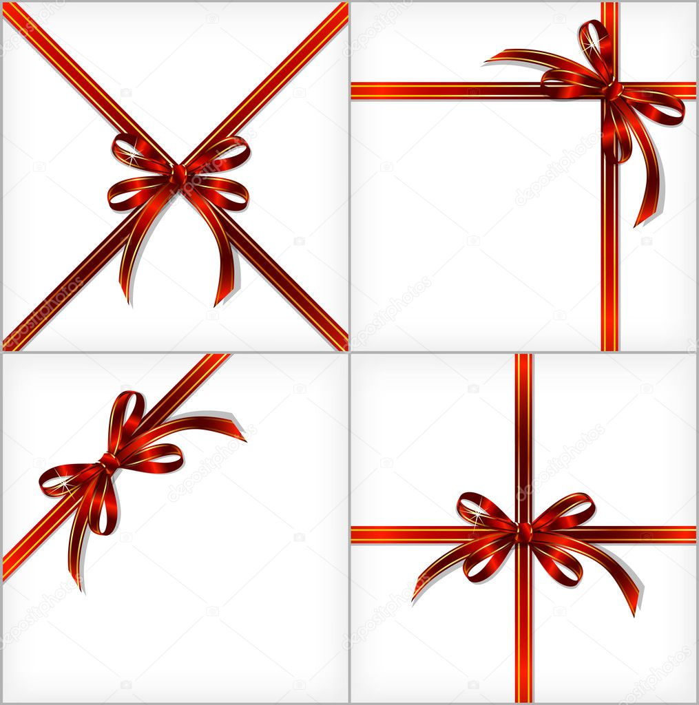 Red Gift Ribbon. Vector set illustration backgrounds  Stock Vector #12238901