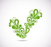 Ornamental green checkmark. Vector — Stock Vector