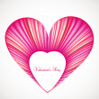 Valentine day card with pink heart. Vector — Stock Vector