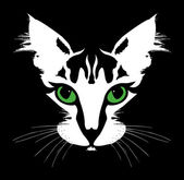 Head of a cat with green eyes. Vector — Stock Vector