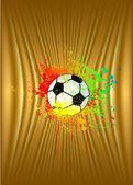 Altın arka plan ile futbol topu. vektör — Stok Vektör