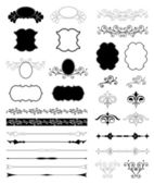 Decorative Floral Design Elements. Vector set — Stock Vector