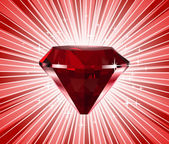 Red diamond. Vector shine background — Stock Vector