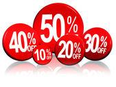 Olika procentsatser i röda cirklar — Stockfoto
